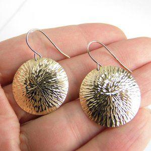 10K Yellow GOLD Diamond-cut dangle earrings